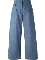Jil Sander Navy Wide Leg Denim Trousers Blue