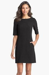 Petite Women's Tahari Seamed A Line Dress Black
