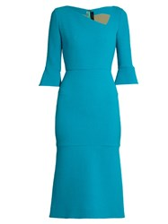 Roland Mouret Dagnall Flared Hem Dress Blue