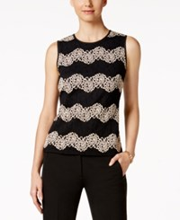 Kasper Lace Chevron Pattern Shell Champagne Black