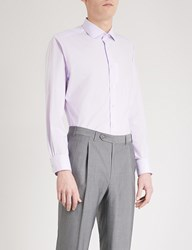 Smyth And Gibson Subtle Checked Tailored Fit Cotton Shirt Lilac