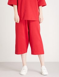 Y 3 Striped Detail Slouchy Cotton Jersey Shorts Chili Pepper Undyed