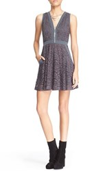 Women's Free People 'Lace Lovely' Fit And Flare Dress Slate Grey