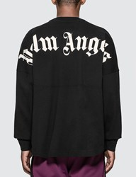 Palm Angels Logo Over Long Sleeve T Shirt Black