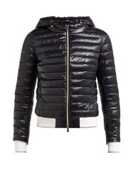 Herno Striped Trim Hooded Quilted Jacket Black