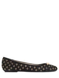 Moschino Logo Letters And Eyelets Nylon Ballerinas