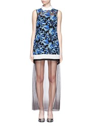 Cynthia And Xiao Floral Embroidery Tulle Lace Maxi Dress Blue Multi Colour