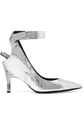 Tom Ford Metallic Watersnake Pumps Silver