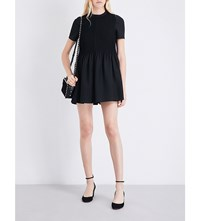 Valentino Pintuck Detail Wool And Silk Blend Playsuit Black