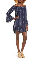 Lush Women's Embroidered Stripe Off The Shoulder Shift Dress
