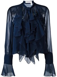 See By Chloe Ruffled Bell Sleeve Blouse Blue