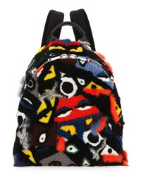 Fendi Shearling And Fur Patchwork Monster Backpack Multi Colors