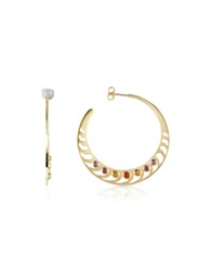 Sho London Mari Rush Silver Vermeil Hoop Earrings Gold