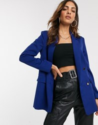 Liquorish Double Breasted Blazer In Navy