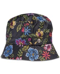 Totes Printed Bucket Rain Hat Embroidered Floral