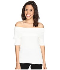 Brigitte Bailey Ria Ribbed Off The Shoulder Sweater Ivory Women's Sweater White