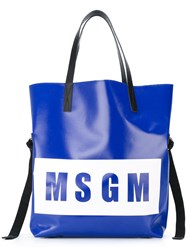 Msgm Logo Print Tote Women Calf Leather Pvc One Size Blue