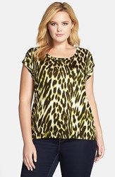 Plus Size Women's Michael Michael Kors 'Albertine' Leopard Print Elliptical Hem Top