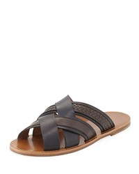 Woven Leather Crisscross Sandal Navy Brown Bottega Veneta