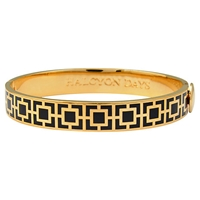Halcyon Days 18Ct Gold Plated Enamel Mosaic Bangle Black