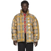 Burberry Beige Down Check Tape Jacket