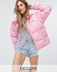 Lazy Oaf Padded Jacket With Cat Print Pink