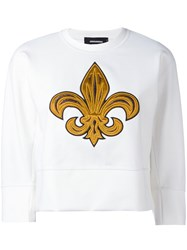 Dsquared2 Embroidered Cropped Sweatshirt White