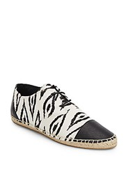 Cynthia Vincent Fatima Calf Hair Espadrille Oxfords Black White