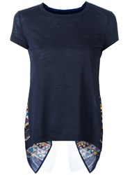 Sacai Tribal Lace Open Back T Shirt Blue