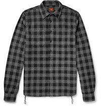 The Workers Club Checked Brushed Cotton Flannel Half Placket Shirt Black