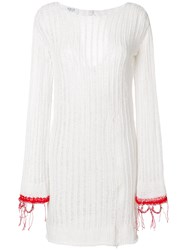 Aviu Ribbed Knit Dres White