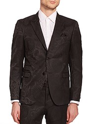 Sand Paisley Jacquard Dinner Jacket Black