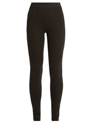 Ryan Roche Ribbed Knit Cashmere Blend Leggings Dark Grey