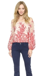 Alice Olivia Elle Cropped Peasant Top Red Natural