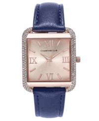 Charter Club Women's Rose Gold Tone Navy Faux Leather Bracelet Watch 32Mm Only At Macy's