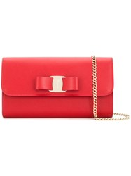 Salvatore Ferragamo Vara Bow Clutch Red