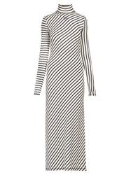 Loewe Diagonal Striped High Neck Jersey Midi Dress Navy White