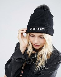 Asos Fine Knit Faux Fur Pom Beanie With Slogan Black