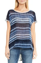Vince Camuto Women's Two By Textured Front Mixed Media Tee