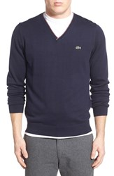 Lacoste Lve Men's Lacoste 'Segment One' V Neck Sweater Navy Blue Stone