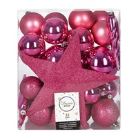 Amara Set Of 33 Assorted Baubles And Tree Topper Flashing Pink