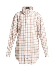 Martine Rose Checked High Neck Cotton Shirt Brown Multi