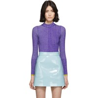 Emilio Pucci Purple Wool Ribbed Turtleneck