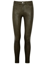 Paige Hoxton Army Green Stretch Leather Jeans Khaki
