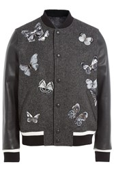 Valentino Wool Bomber Jacket With Leather Sleeves Black
