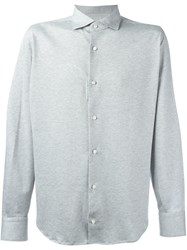 Eleventy Patterned Longsleeved Shirt Grey