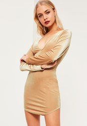 Missguided Nude Velvet V Neck Long Sleeve Dress Sand