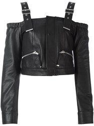 Diesel Black Gold Leather 'Lawau' Blouse Black