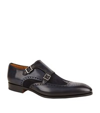 Magnanni Suede And Leather Double Monk Shoe Male Navy