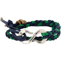 Braided Leather Bracelet With Hook Clasp Navy